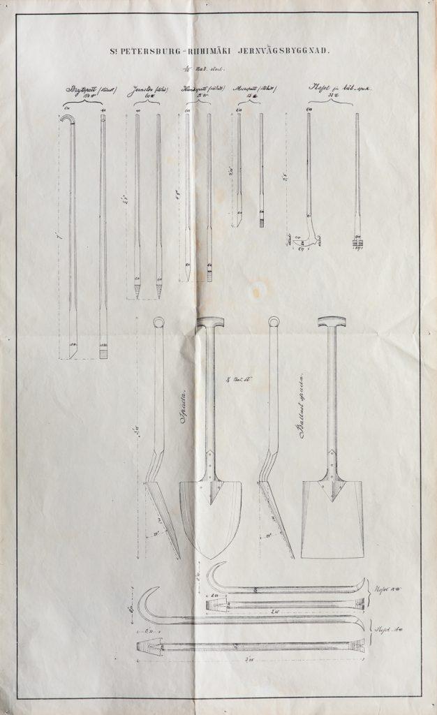 Työkalupiirrustus, johon on kuvattu erilaisia työkaluja ja lapioita.