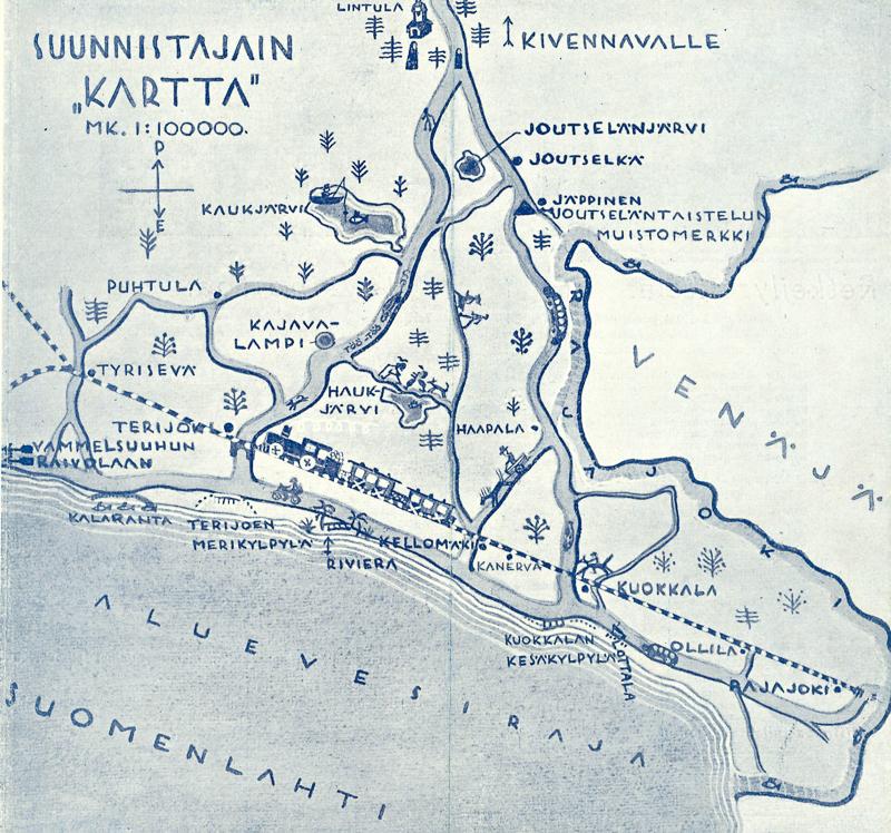 Piirretty karttakuva, jossa on kuvattu junarata ja sen läheisiä paikkoja, luontokohteita ja muistomerkkejä.