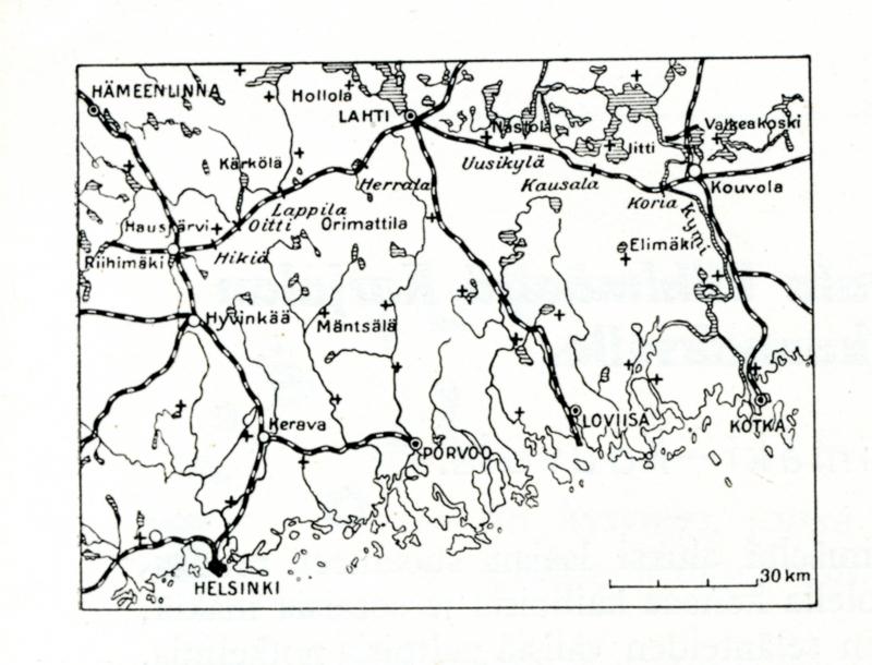 Mustavalkoinen karttakuva, jossa kuvattu rannikkoa ja rautateitä. Kartassa näkyy rata Riihimäeltä Kouvolaan.