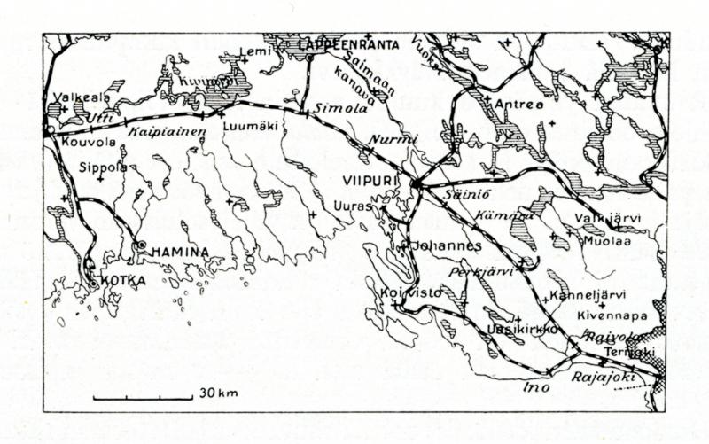 Mustavalkoinen karttakuva, jossa kuvattu rannikkoa ja rautateitä. Kartassa näkyy rata Kouvolasta Viipuriin ja edelleen Rajajoelle.