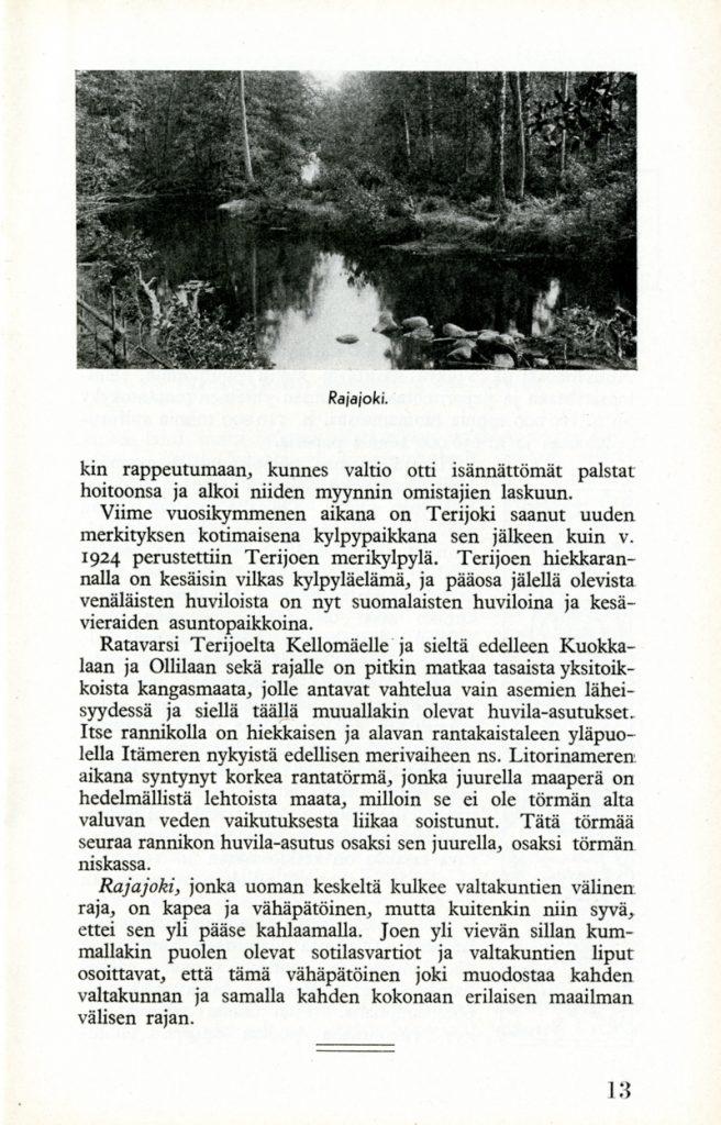 Kuva vihkon sivulta. Sivun yläosassa on kuva, jossa on metsän ympäröimä joki. Kuvan alla on tekstiä, joka kertoo radanvarren maisemista.