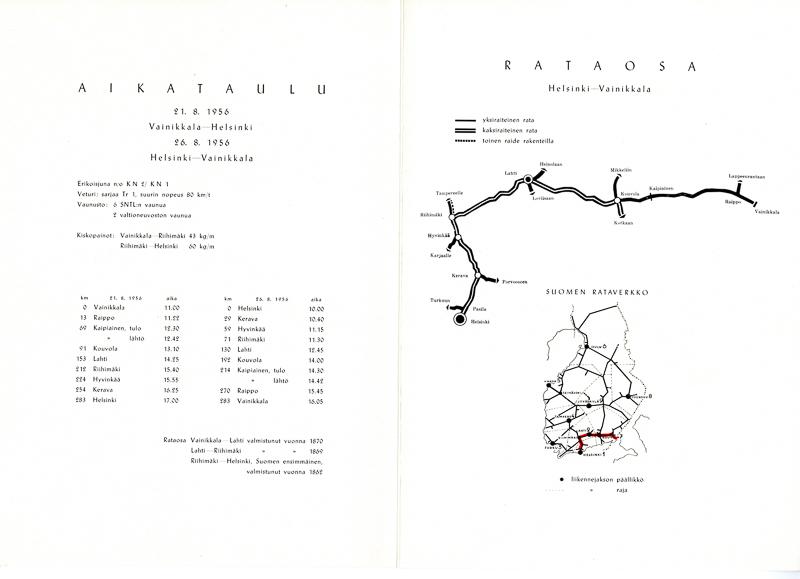 Aikataulu ja kartta, jossa näkyy junan kulkema matka.