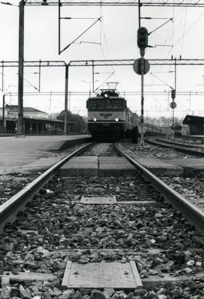 Raiteella siesoo juna, jonka oikealla puolella on raiteita ja vasemmalla asemalaituri ja taustalla asemarakennus.