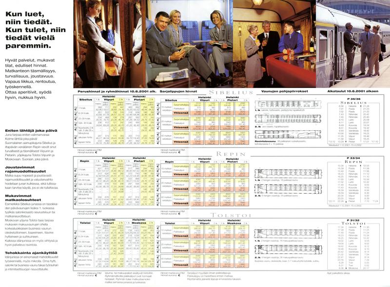 Esitteessä on esitelty junien palveluita. Taulukoissa on Sibelius-, Repin- ja Tolstoi-junien hinnastot, pohjapiirrokset ja aikataulut.