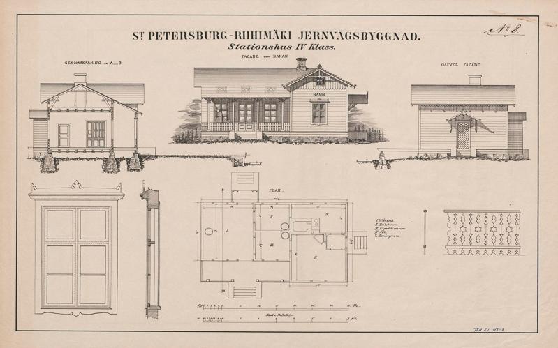 Suunnittelupiirustus, jossa on kuvattu aseman ulkoasu, pohjapiirros sekä perustusten rakenteita. Piirustuksessa on myös ikkunan malli.