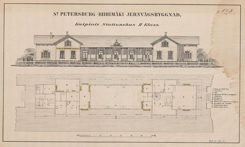Suunnitelmapiirros, johon on kuvattu asemarakennuksen julkisivu ja pohjapiirros.