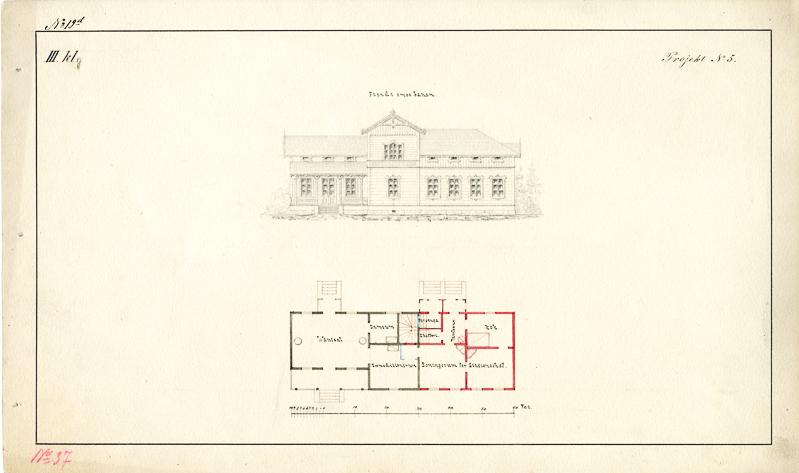 Suunnittelupiirros, johon on kuvattu asemarakennuksen julkisivu ja pohjapiirros.