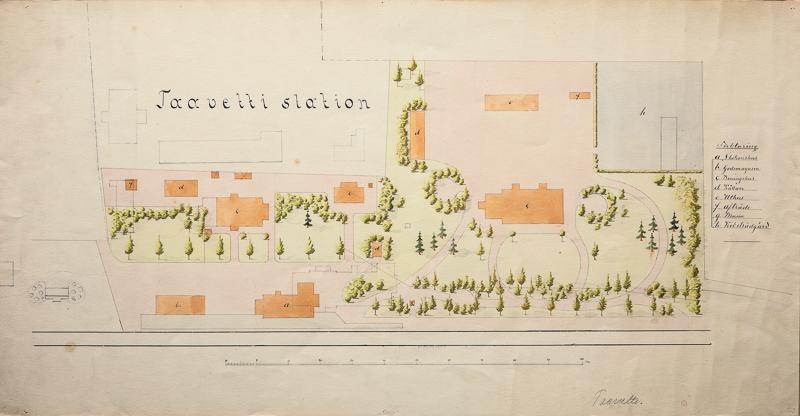Piirustuksessa on kuvattu puiston suunnitelma ylhäältä päin. Piirustuksessa näkyy rakennusten, puiden ja kulkureittien paikat ja junaradan sijainti.