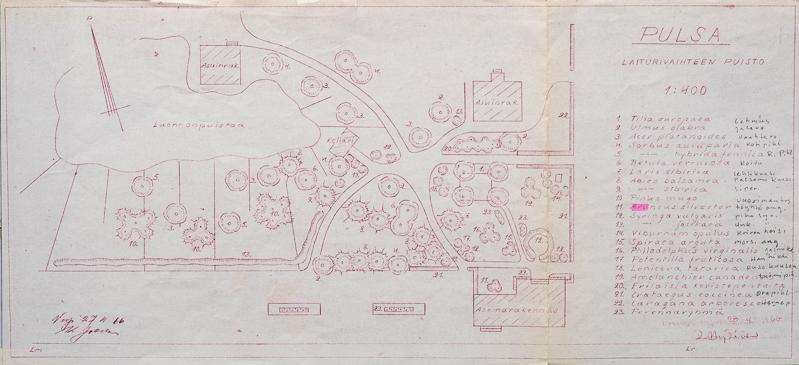 Piirustukseen on kuvattu puiston suunnitelma ylhäältä päin. Rakennusten, puiden ja kulkureittien paikat on merkitty piirustukseen. Piirustuksen vieressä oikealla on lista suunnitelmaan merkityistä asioista.