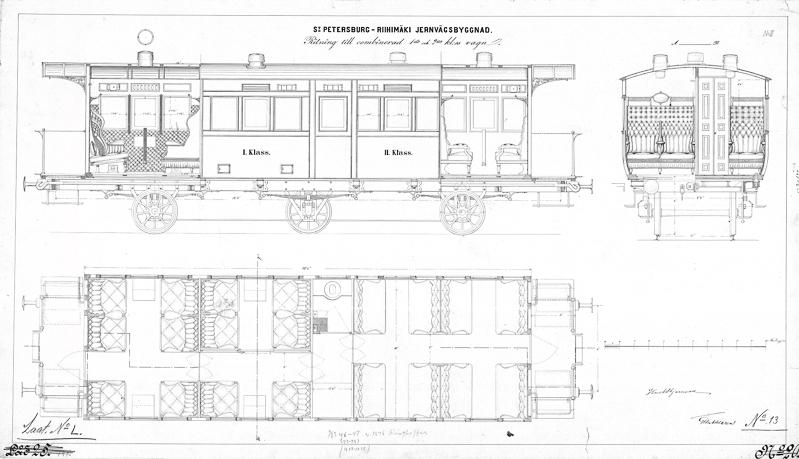 Vaunujen suunnittelupiirros, johon kuvattu vaunun sivu, poikkileikkaukset vaunun sisustasta ja kalusteiden asettelu ylhäältä käsin.