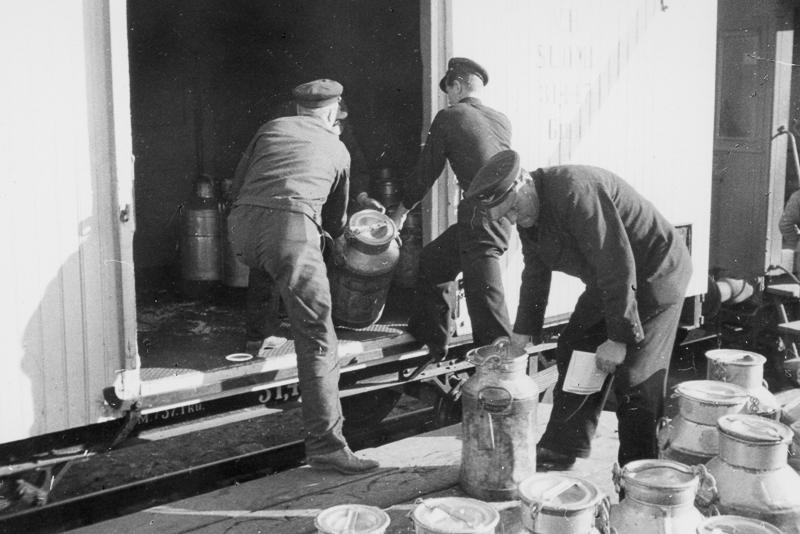 Kolme miestä lastaa maitotonkkia tavarajunaan.