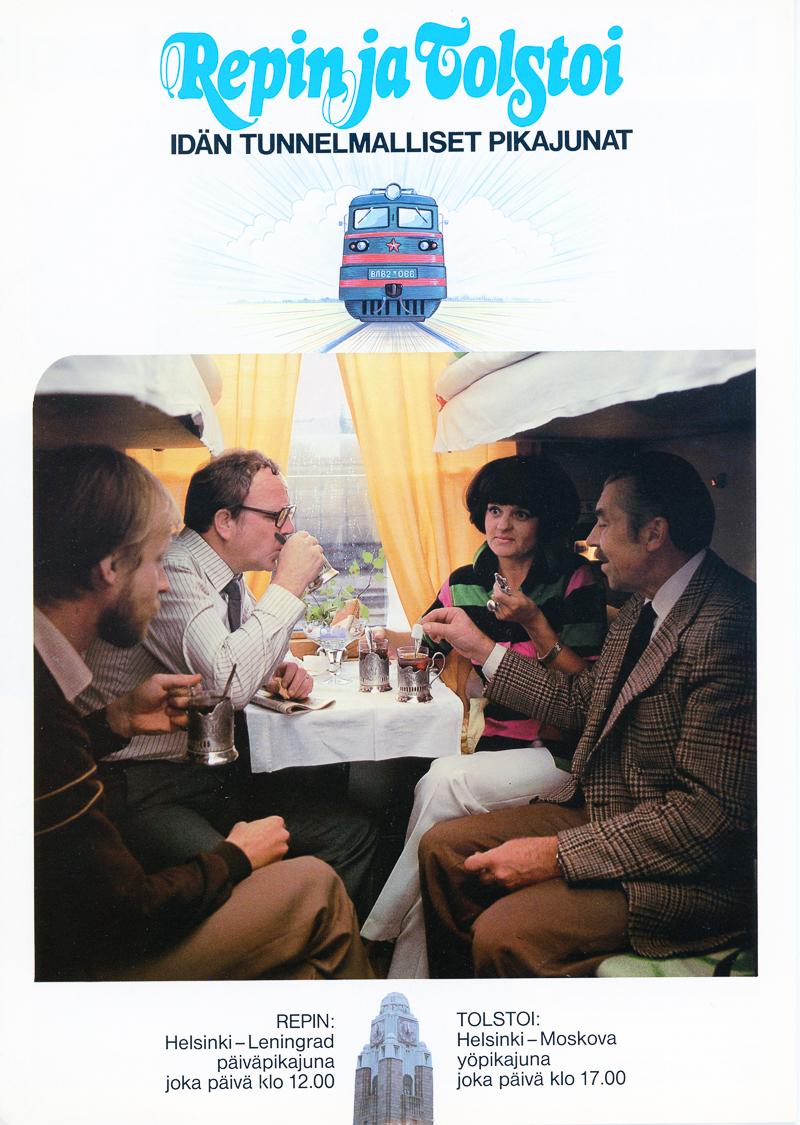 Repin ja Tolstoi -esitteen kansi, jossa seurue juo teetä junassa.