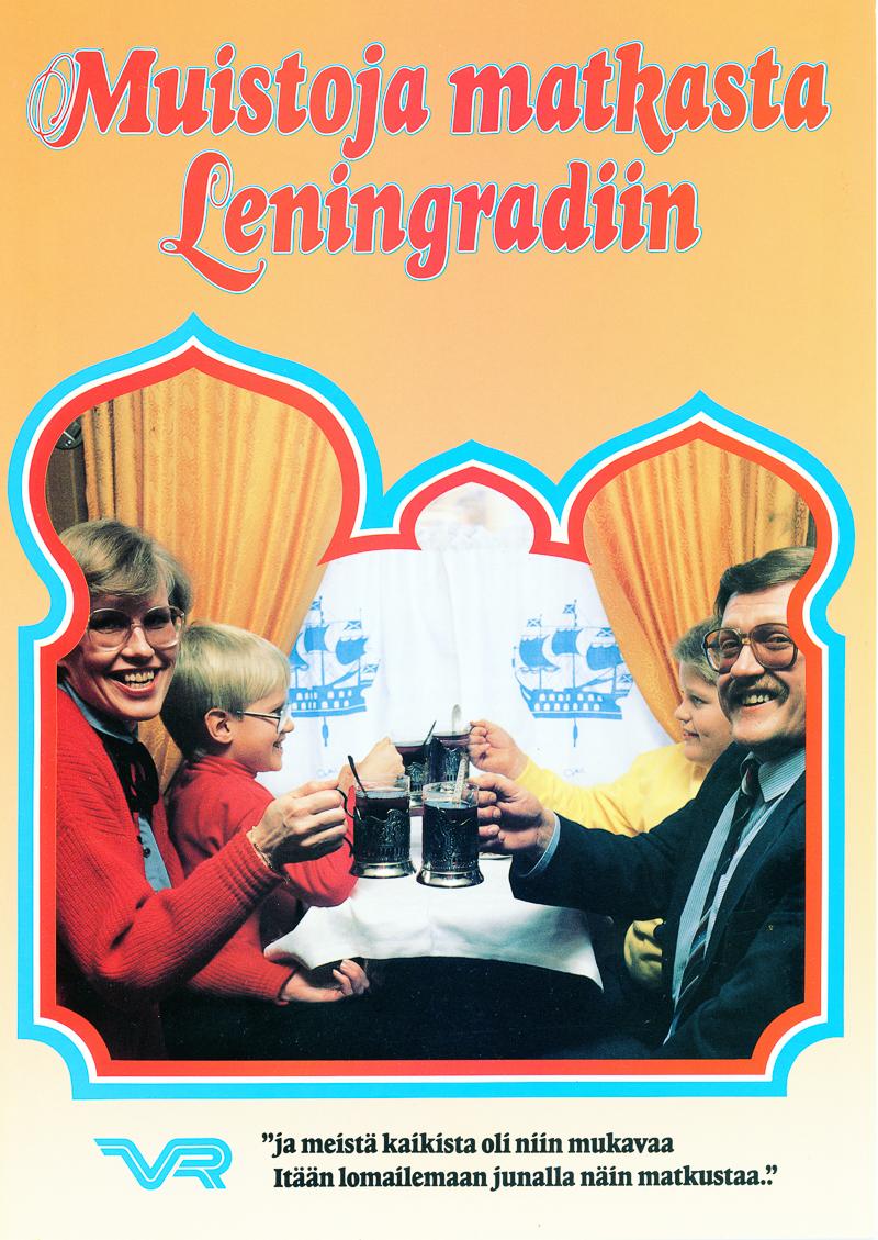 Muistoja matkasta Leningradiin - esitteen kansi, jossa perhe ravintolassa.