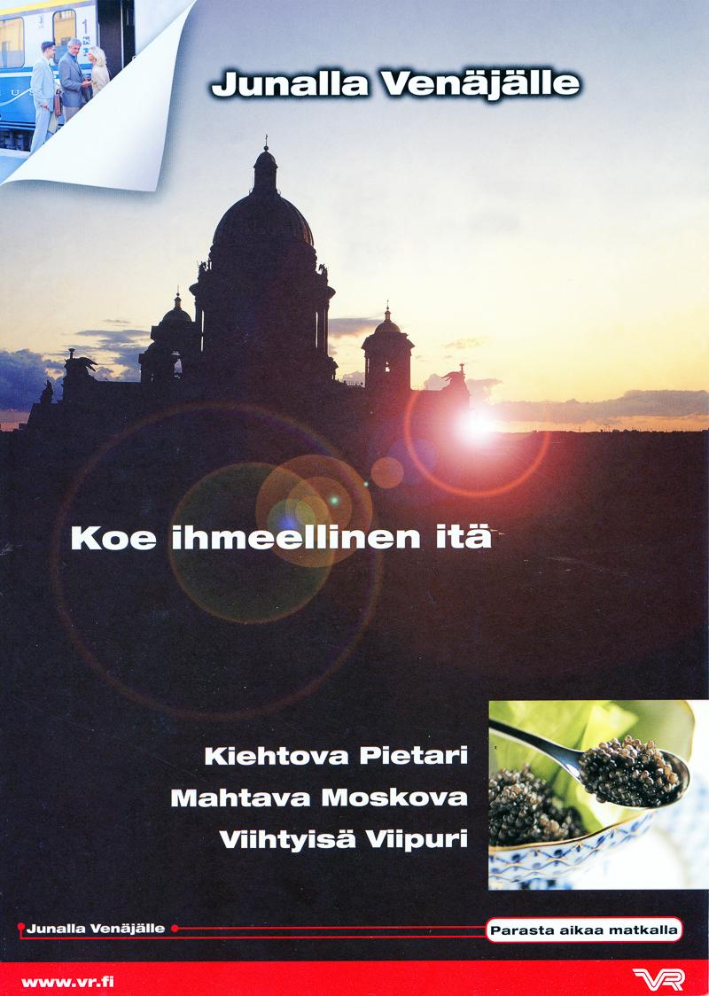 Junalla Venäjälle esitteen kansi auringonlasku kuvalla.