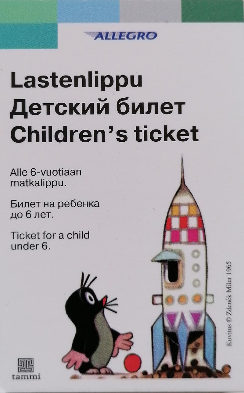 Allegro-junassa jaettava lastenlippu, jossa satuhahmo myyrä.